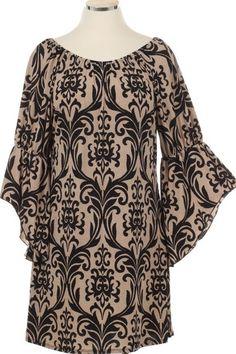 Plus Size Damask Dress Black - Kelly Brett Boutique