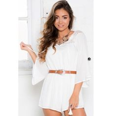 Showpo White Romper White bell sleeve romper. New from showpo, never worn! I think it's super cute but not totally my style, I've owned it for a year and never worn it once! Perfect for Coachella or other music festivals. ---I also have the belt and like it but if someone really wants it I can add it for $15 (paid $25, also never worn) Showpo Dresses Mini