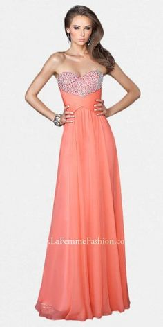 This simple prom dress by La Femme has a strapless sweetheart neckline with a jeweled bodice and natural waist. The bac....Price - $398.00 - 8oinUyT7