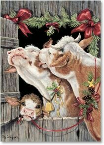 Western Christmas Cards from Leanin' Tree feature cowboys, horses, and other inspiring images of the Old West. Western Christmas, Woodland Christmas, Christmas Paper, Country Christmas, Christmas Pictures, Vintage Christmas, Christmas Christmas, Cow Pictures, Cow Painting