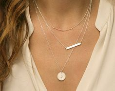 Bar Necklace Set / Hammered 14k Gold Fill Bar or by LayeredAndLong