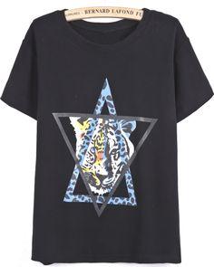 Black Short Sleeve Star of David Tiger Print T-Shirt - Sheinside.com