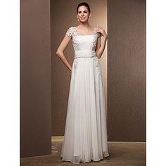 Gaine / colonne carré de sol longueur robe de mariée – USD $ 237.49