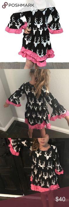 dress BLACK DEER PRINTED DRESS WITH FUCHSIA TRIM Dresses Casual