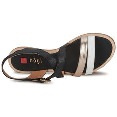 RHEANNE Sandals Black / Gold / White Beautiful! Court Shoes, Black Sandals, Black Gold, Swarovski, Lady, Boots, Beautiful, Fashion, Black Flat Sandals