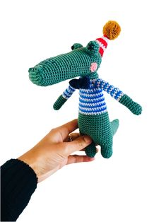 Caiman Crocodile - Amigurumi Crochet Toy - Cute - Handmade - Animals - Soft Toy - Gift Crochet Penguin, Crochet Toys, Christmas Bunting, Bunting Garland, Paper Beads, Amigurumi Toys, Crocodile, Arm Warmers, Handmade Gifts