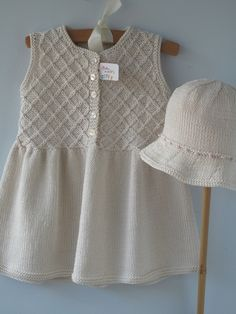 Baby Clothes Handmade Hand Knit Smocked Dress by BbKnitsbyGitte