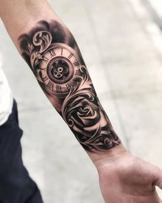 Our Website is the greatest collection of tattoos designs and artists. Find Inspirations for your next Clock Tattoo. Search for more Tattoos. Hand Tattoos, Tattoos Arm Mann, Forarm Tattoos, Arm Tattoos For Guys, Trendy Tattoos, Body Art Tattoos, Male Tattoo, Inner Forearm Tattoo, Forearm Sleeve Tattoos