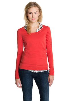 basic rowan berry sweater paired with polkadot blouse