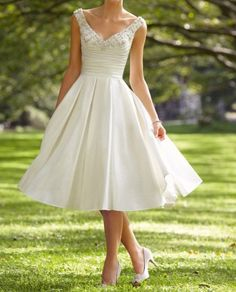 LOVE this!!! 2013 Sparkle Bridal wedding short dress aline vneck by VEIL8, $99.00