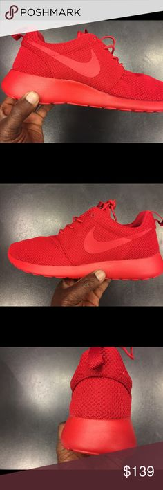 Nike Roshe One Mono Red all red Brand new with box no trades price is firm Nike Shoes Athletic Shoes