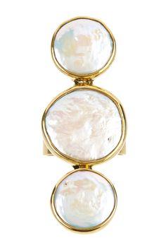 brass + pearl ring