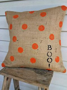 Burlap Halloween Pillow by ReclaimedGoods1 on Etsy, $22.00
