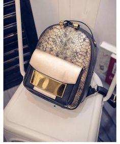 116a73c9201e Snake Pattern PU Leather Women Backpack