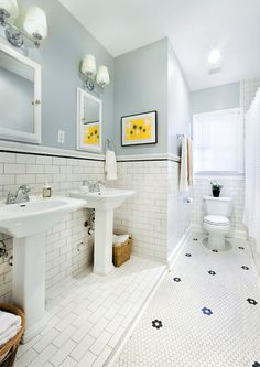 Love this tile too. Subway tile wainscoting instead of beadboard so it's easier to clean
