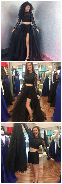Two Pieces A-Line Long Sleeve O-Neck Prom Dresses,Long Prom Dresses,Cheap Prom Dresses, Evening Dress Prom Gowns, Formal Women Dress,Prom Dress