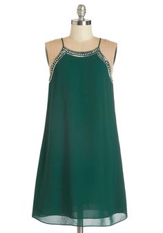 Gallery Curator Dress. Swish from exhibit to exhibit in this deep jade party dress, adjusting each art piece to perfection before opening the doors! #gold #prom #modcloth