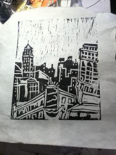 City Woodblock by brandongorski on Etsy, $12.00