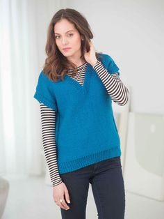 Versatile Vest in Lion Brand Vanna& Choice - Discover more Patterns by Lion Brand at LoveKnitting. The world& largest range of knitting supplies - we stock patterns, yarn, needles and books from all of your favourite brands. Easy Knitting Patterns, Free Knitting, Knitting Ideas, Crochet Woman, Knit Crochet, Knit Vest Pattern, Sweater Patterns, Dress Gloves, Yarn Brands