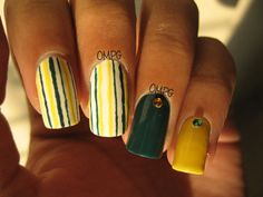 Hi everyone!! I often run out of ideas just before I paint my nails, and this was one of those times.. So I ended up doing stripes.. I never tried a dark green and yellow combination before, and they go well together, I think.. Enjoy the rest of your day!!
