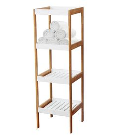 Look at this #zulilyfind! Brown & White Four-Tier Shelf by home basics #zulilyfinds