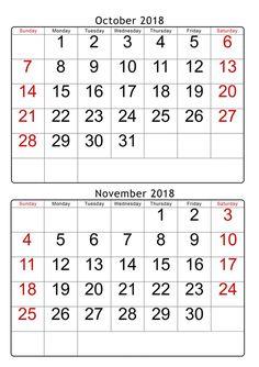 53 Best Printable October 2018 Calendar Images On Pinterest