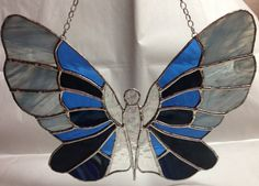 Stained Glass Butterfly Angel Suncatcher by PeaceLuvGlass on Etsy, $53.00