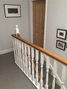 These staircase decorating ideas will give your entryway a step up. Find and save ideas about beautiful Painted staircase Ideas in this article. Bannister Ideas Painted, Hallway Colours, Hallway Decorating, Painted Staircases, Home, Staircase Design, Staircase Banister Ideas, Banisters, Staircase Makeover