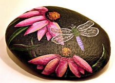 Cornflower and Dragonfly Garden Rock  Hand Painted by getarock
