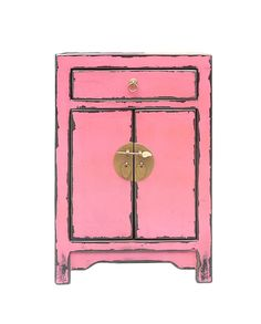 Oriental Pink Lacquer Moon Face End Table Nightstand