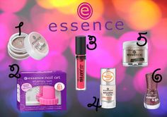 Essence 1/Eye sorbet 2/Nail art stampy set 3/Gloss stay with me 4/Studio nails ultra nail repair 5/Pigments 6/Vernis colour&go