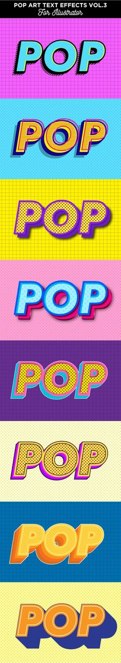 Buy Pop art text effects for Illustrator by memetxsaputra on GraphicRiver. t,s a set of pop art text effects. This set contains 8 ready to use Illustrator graphic styles and 8 backgrounds. Web Design, Game Design, Pop Art Design, Graphic Design, Art Designs, Pop Art Patterns, Pattern Art, Typography Poster, Typography Design