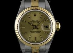 Rolex S/G Oyster Perpetual Champagne Baton Dial Datejust NOS 69173 Rolex Oyster Perpetual, Vintage Rolex, Breitling, Oysters, Gold Watch, Rolex Watches, Champagne, Accessories