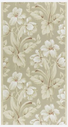 Sidewall | USA, 1938-1950 | Machine-printed, textured ground | White and tan flowers with red on a beige ground | Cooper-Hewitt