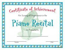 This is a recital certificate in a casual style.