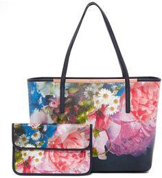 f54061b9e0d205 Ted Baker Floryia Floral Crosshatch Leather Shopper Bag