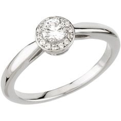 """A stunning, round brilliant-surrounded center stone is set above subtle arching windows. A high-polished gold or platinum band and a """"blooming"""" crown of14 spotlight enhancers add depth and dimension to this stunning engagement ring. Center stones available in .25, .35 and .50 carats. Starting at $725."""