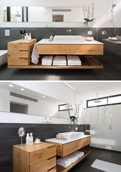 Bathroom Design Idea - An Open Shelf Below The Countertop (17 Pictures) | This shelf also holds a set of drawers at one end to provide more storage and keep bathroom products more organized.