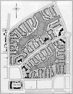 Radburn, NJ site plan. Clarence Stein, 1928. Two superblocks are clearly seen in this plan