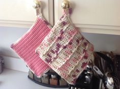"Crochet Pot holders, 8"" x 8"", ""Weathered rose"" by Mywaycrochet on Etsy"