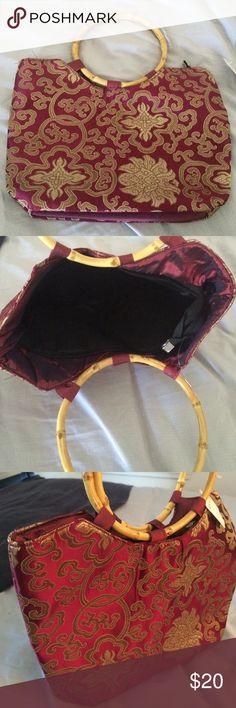 Handbag Pink and champagne silk handbag, bamboo handles, new with tags, made and purchased in Hong Kong Bags Hobos