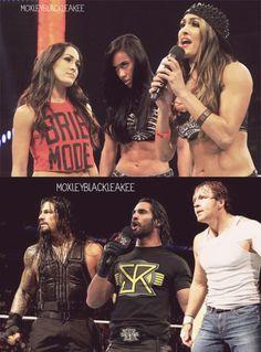 Brie Bella Aj Lee Nikki Bella Seth Rollins Roman Reigns Dean Ambrose