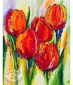 """Vrolijk Schilderij 80 x 100 cm schilderij """"Tulpen"""""""