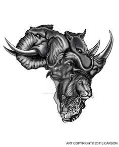 Only the best free African Tattoo Design Drawing tattoo's you can find online! African Tattoo Design Drawing tattoo's to print off and take to your tattoo artist. Map Tattoos, Body Art Tattoos, Sleeve Tattoos, Tatoos, Portrait Tattoos, Elephant Tattoos, Animal Tattoos, African Animals, African Art