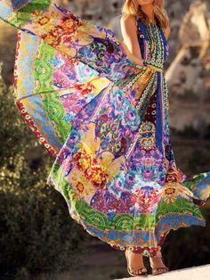 Multicolor Backless National Style Print Halter Maxi Dress