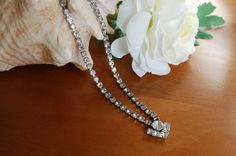 Vintage Clear Rhinestone Necklace, Heart Necklace, Vintage Bride Something Old, Prom Pageant, Romantic, Bohemian