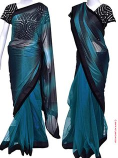 RENT : Blue and Black Double Shade Net Saree. Simple yet elegant in look and feel, this net saree comes with a double shade color combination with velvet borders. The contrast color of blue and black is sure to flaunt your beauty. Comes with a ready to wear blouse with bust size of 38 inches with a sleeve length of 6 inches, the blouse is decked with small mirror work and with black beads. Adorn this trendy net saree for party and special functions and add that contemporary look in you.