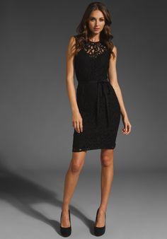 Velvet Ananda Sleeveless Tie Waist Dress in Black Lace