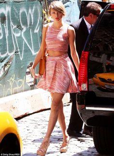 Taylor Swift in Aqua Marled Crop Top And Aqua Marled Skater Skirt (New York City)