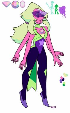 A gem Pearl/Peridot/Amethyst fusion that I forgot to share! I never picked the actual gem for it, but I had fun designing it!